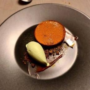 Varlhona chocolate tart with matcha ice