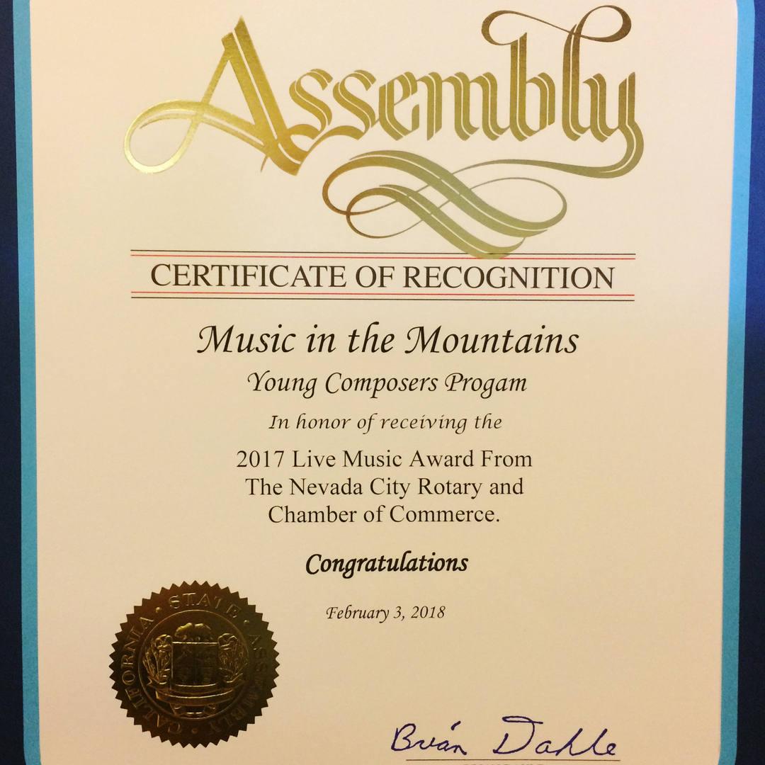 California Legislature Recognition