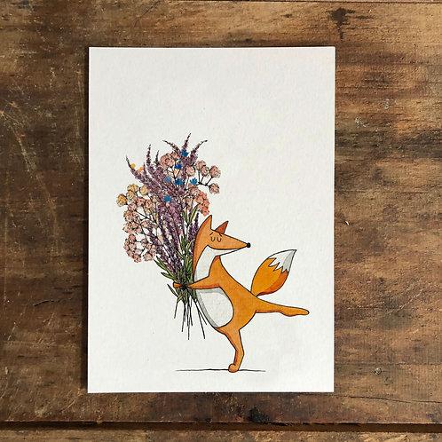 "Postkarte ""Blumenfuchs"""