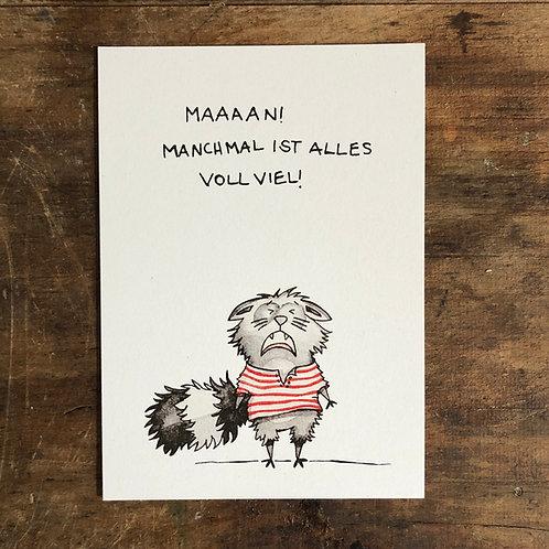 "Postkarte ""Manchmal ist alles voll viel"""