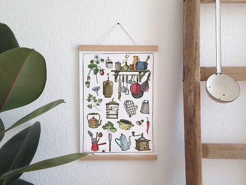 Poster Küchengemütlichkeit Birkenpapier natur