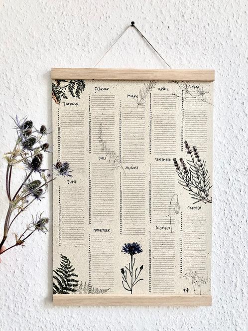 Geburtstagskalender Florals, Graspapier