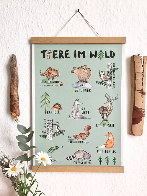 """Poster """"Tiere im Wald"""" Recyclingpapier"""
