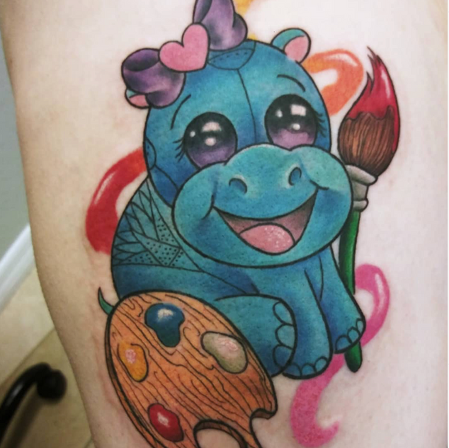 Art Hippo Tattoo By Jessi At Fine Ink St