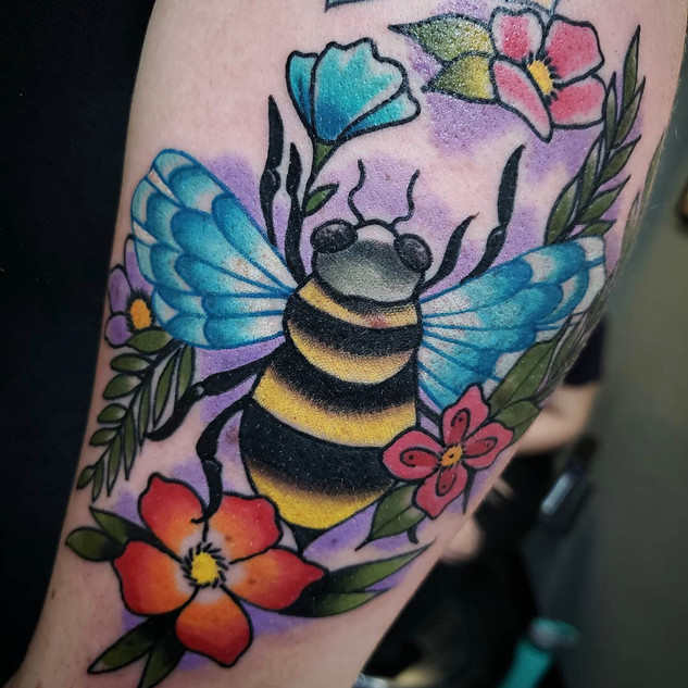 Bumble Bee and Flower Tattoo By Rick At