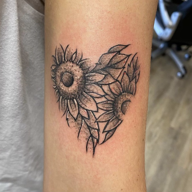 Floral Heart Tattoo By Denzel At Fine In