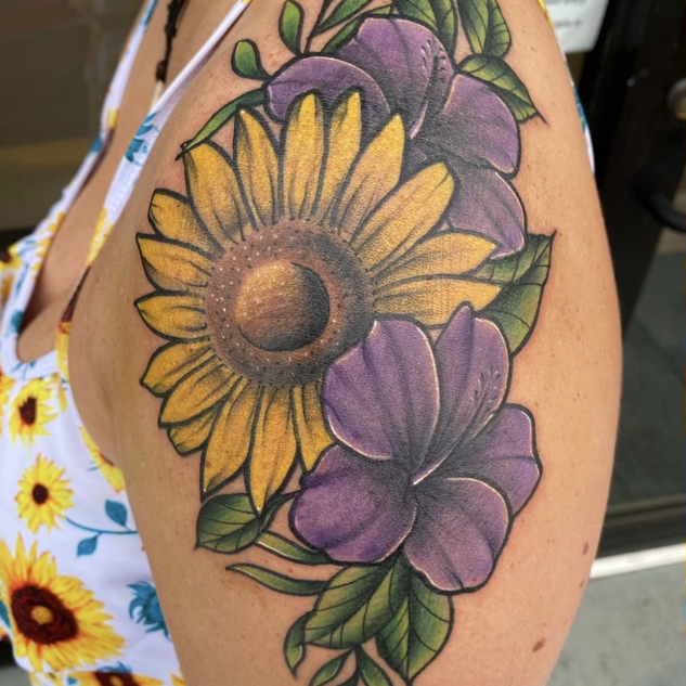 Color Sunflower Tattoo By Denzel At Fine