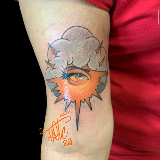 Eye and Cloud Tattoo By Scott At Fine In