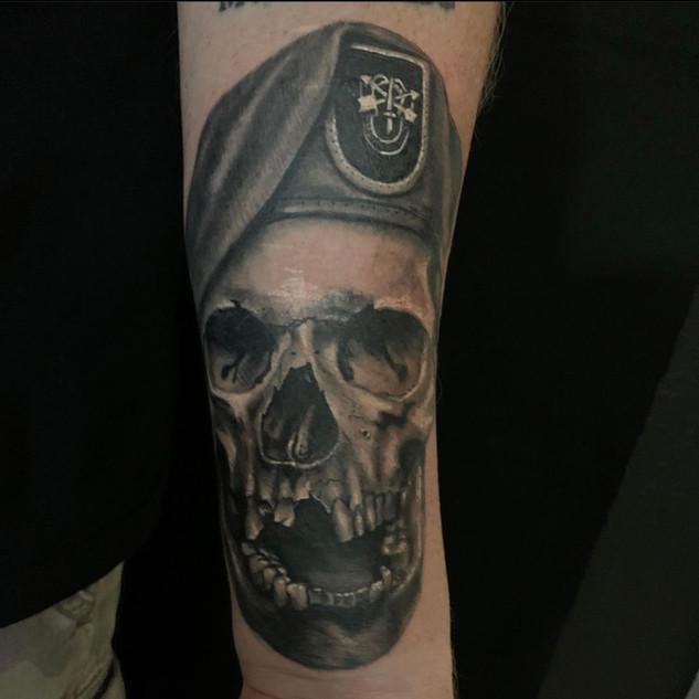 Military skull Tattoo By Barnett Owner o