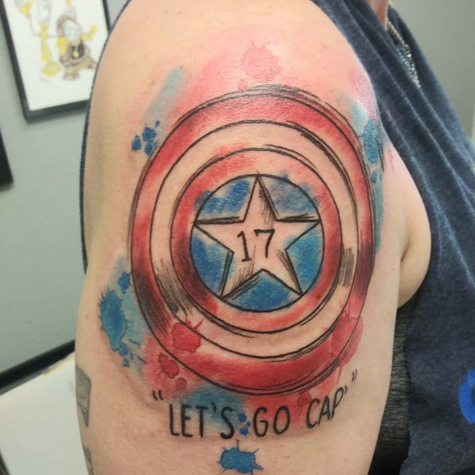 Captain America Watercolor Tattoo By Jes