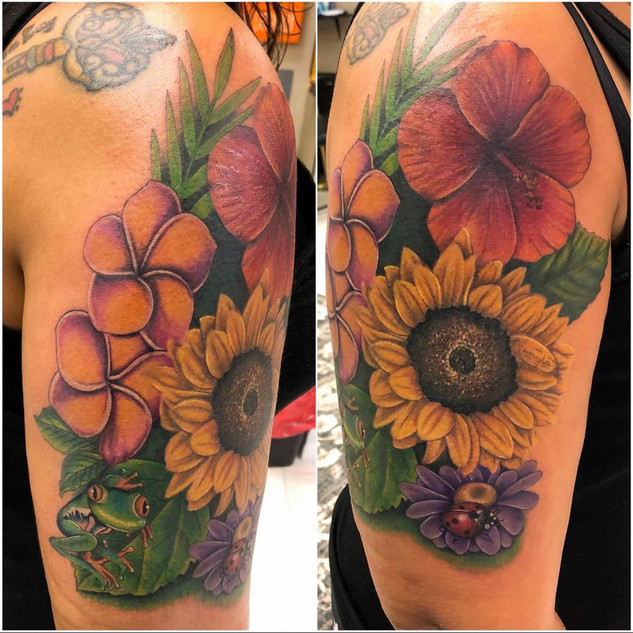 Color Flowers Tattoo By Topher At Fine I