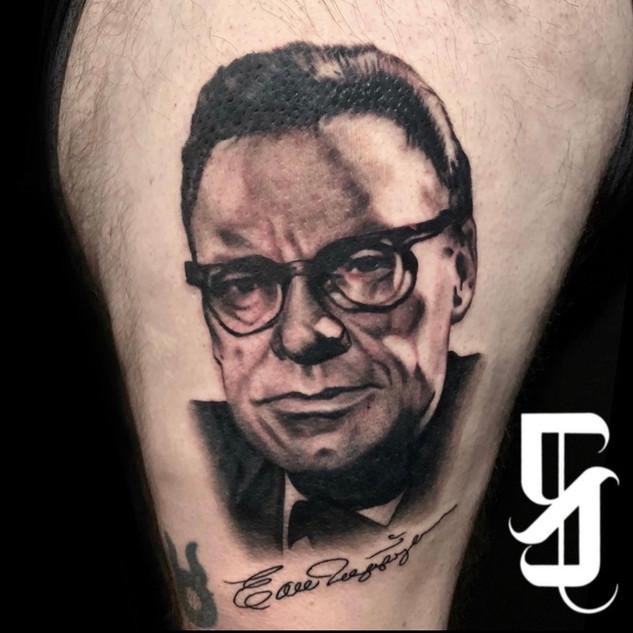 Earl Nightingale Portrait Tattoo By Sarg
