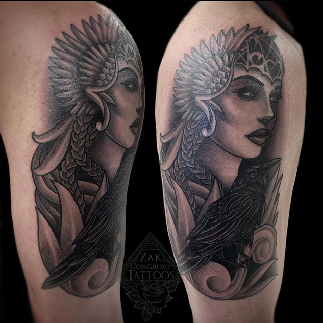 Womans Face and Crow Tattoo By Zak At Fi
