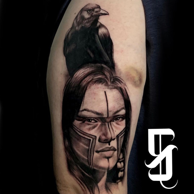 Native American Portrait and Crow Tattoo
