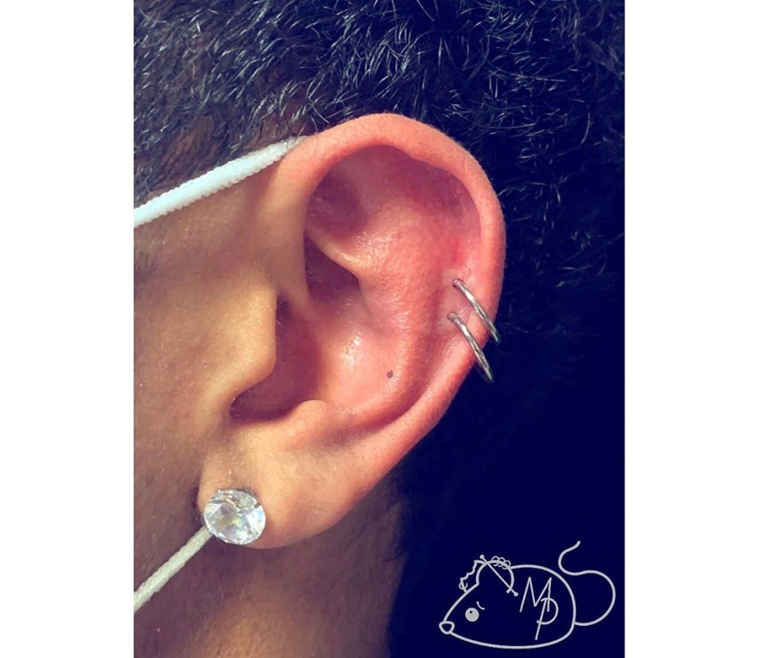 Double Helix Piercing by Mousey at Fine