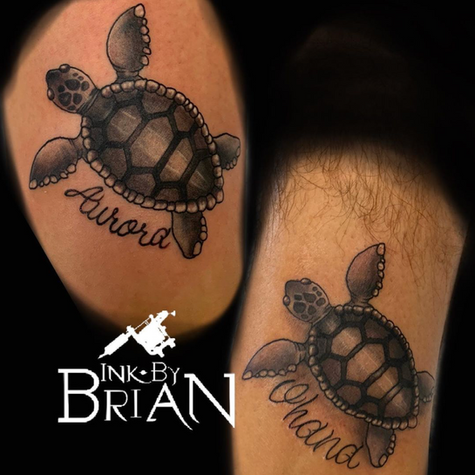 Turtle Matching Tattoo By Brian At Fine