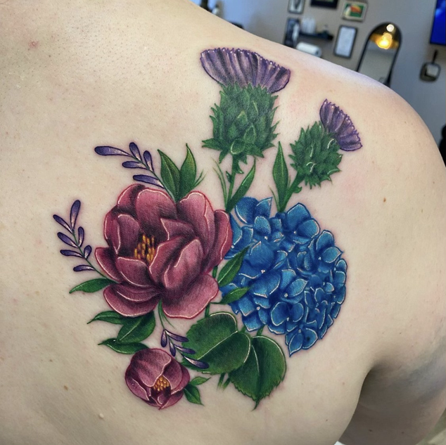 Color Flowers Tattoo By Denzel At Fine I
