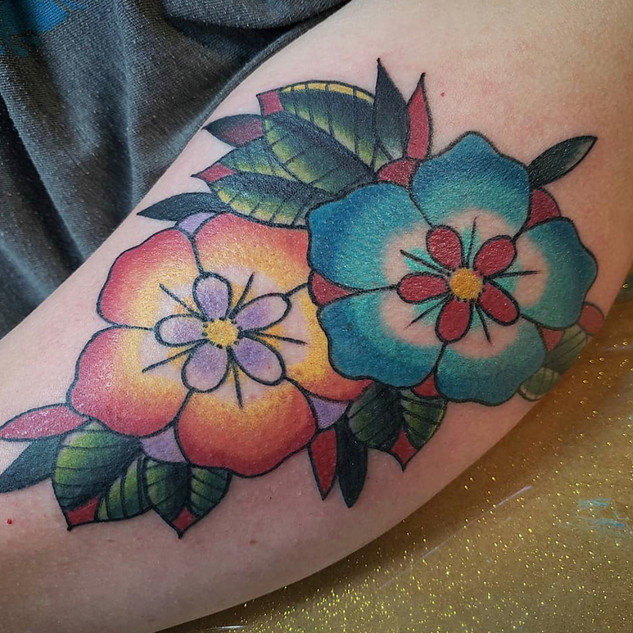 Traditional Flower Tattoo By Rick At Fin