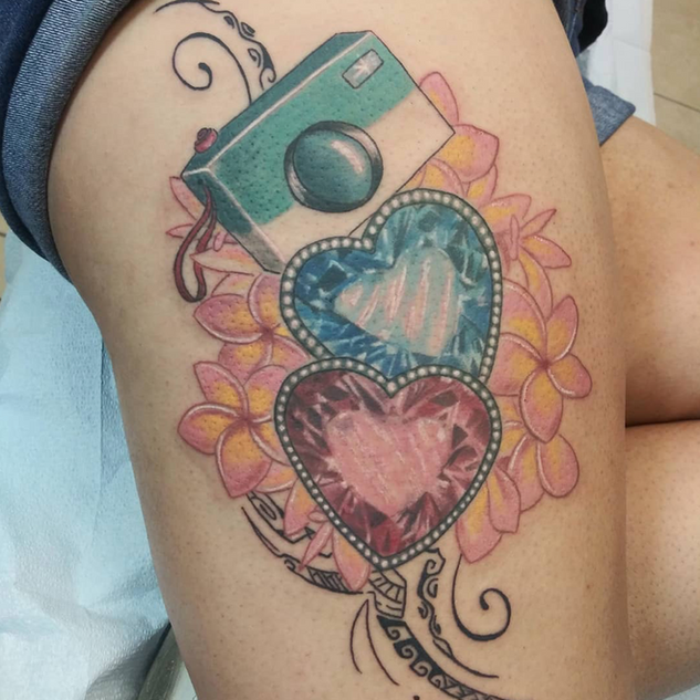 Camera Crystal and Flower Tattoo By Jess