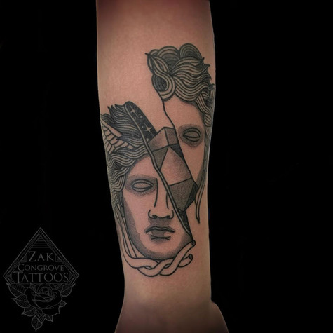 Abstract Statue Tattoo By Zak At Fine In