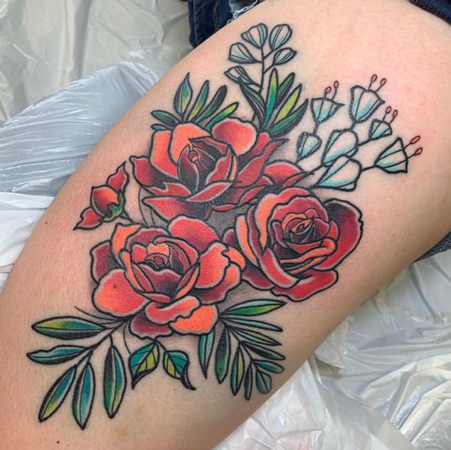 Traditional Flowers Tattoo By Dick At Fi