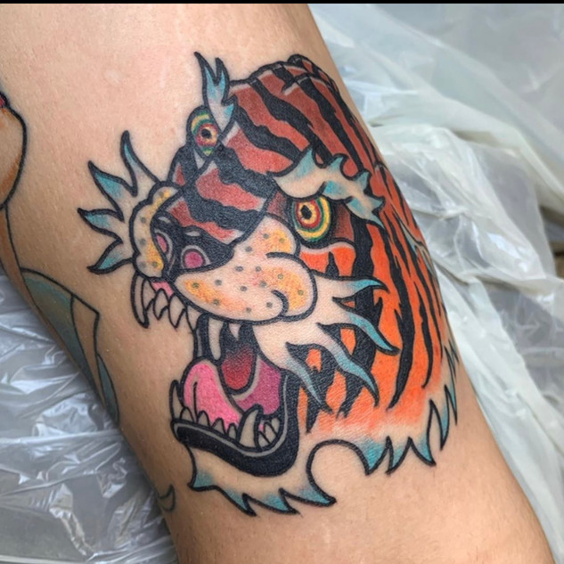 Traditional Tiger Tattoo By Dick At Fine