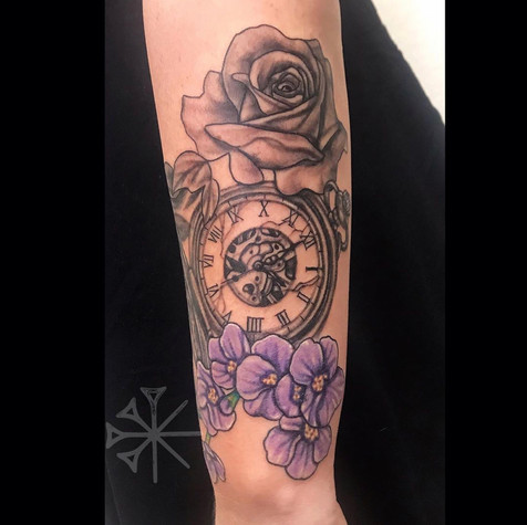 Flower and Pocket Watch Tattoo By Rafael