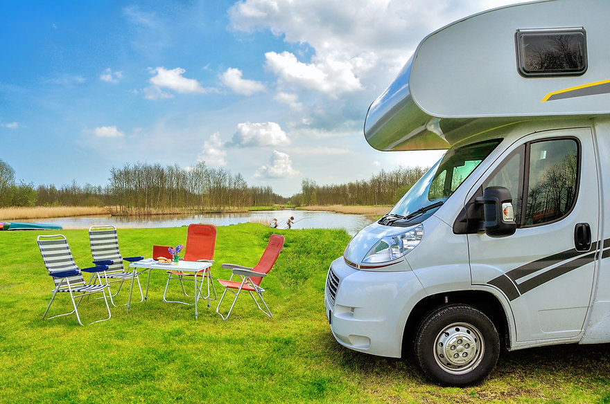 RV (camper) in camping, family vacation