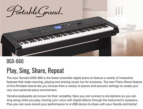 Yamaha DGX660B Black 88-key ensemble digital piano with rosewood side panels and matching stand. Includes PA150 power adapter, music rest and sustain pedal - $799.95