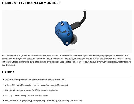 Fender® FXA2 Pro In-Ear Monitors - $199.99