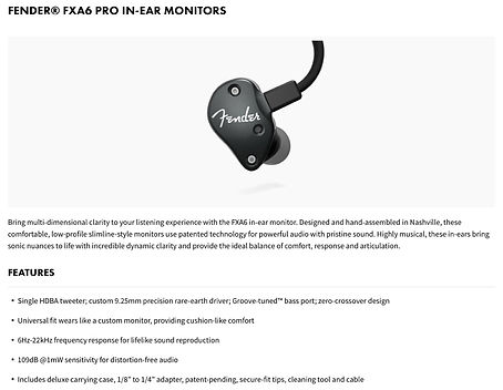 Fender® FXA6 Pro In-Ear Monitors - $399.99