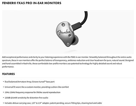 Fender® FXA5 Pro In-Ear Monitors - $299.99