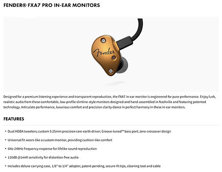 Fender® FXA7 Pro In-Ear Monitors - $499.99