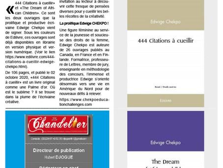 Article de presse : 2 parutions (29/09 et 02/10/2020) pour édulcorer le champ littéraire.-Copyright