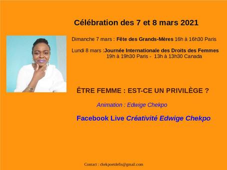 Célébration des 7 et 8 mars 2021