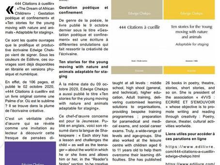 Article de presse du 12/10/2020 autour de 4 parutions de la semaine.