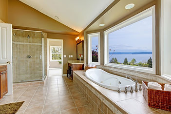 Photo of clean tile and grout in luxurious bathroom