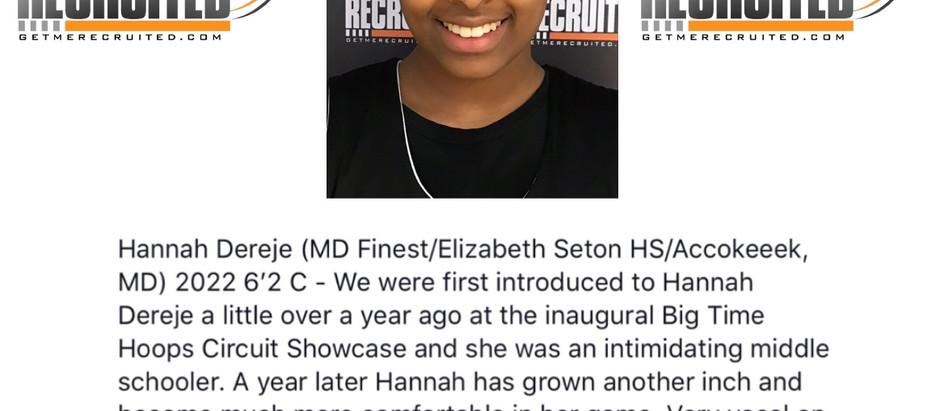 Hannah Dereje - 6'2 C 2022 (MD Finest/Elizabeth Seton HS/Accokeeek, MD)