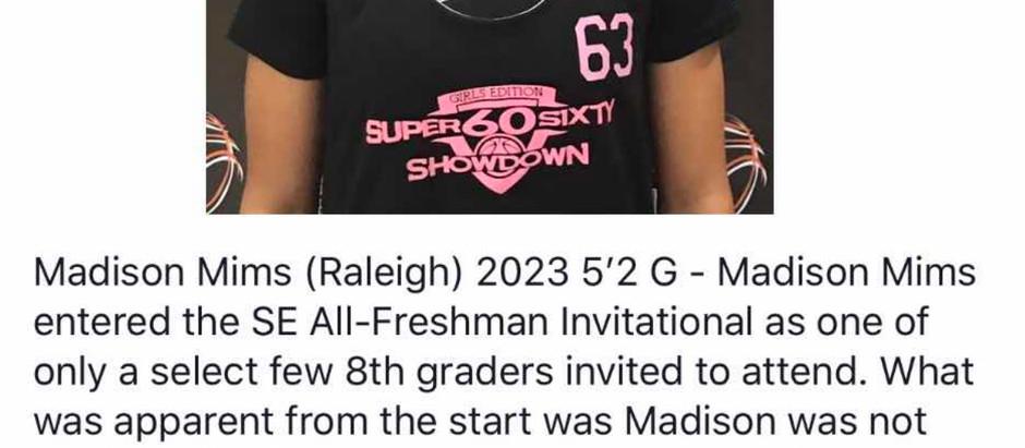 Madison Mims - 5'2 G 2023 (Apex, NC)