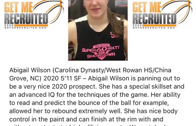 Abigail Wilson (Carolina Dynasty/West Rowan HS/China Grove, NC) 2020 5'11 SF