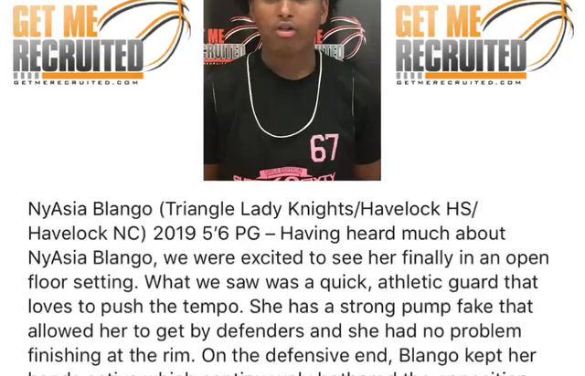 NyAsia Blango (Triangle Lady Knights/Havelock HS/Havelock, NC) 2019 5'6 PG