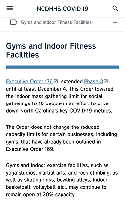 NC DHHS COVID-19 Gyms and Indoor Fitness