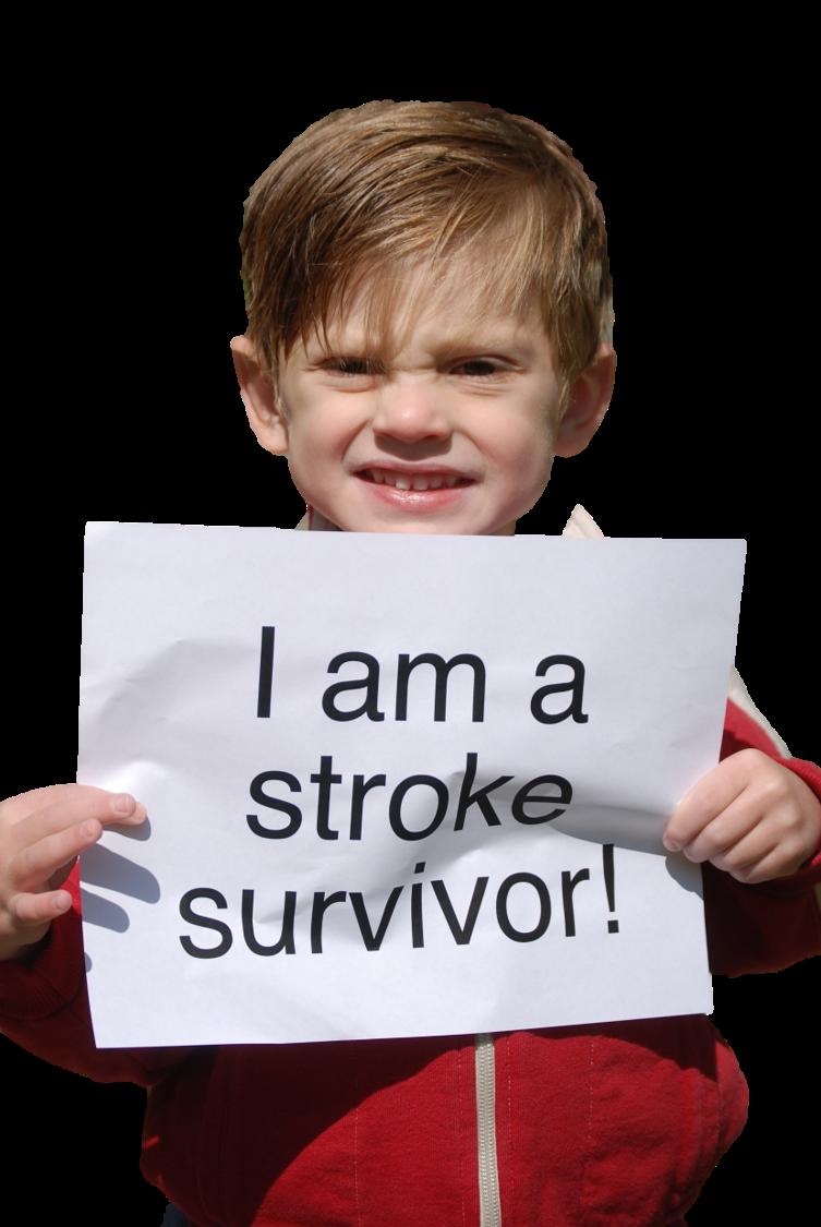 Criança segurando uma placa: eu sobrevivi ao AVC