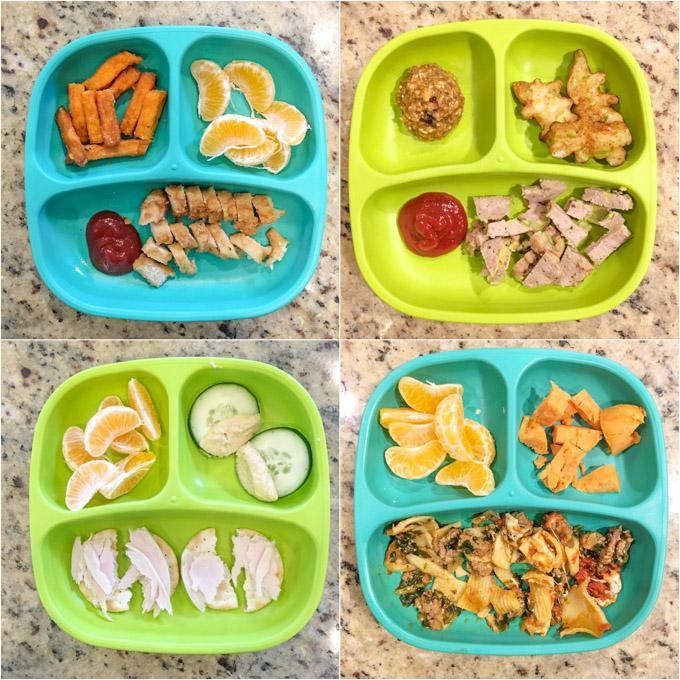 4 pratos mostrando combinações diferentes de 3 alimentos para serem oferecidos