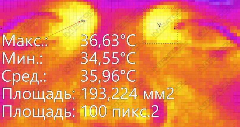 Рис. 7. Область уголка глаза при максимальном увеличении на расстоянии в 1 метр