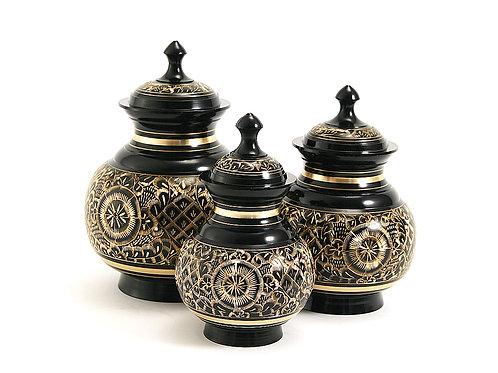 Black Engraved Vase Urn