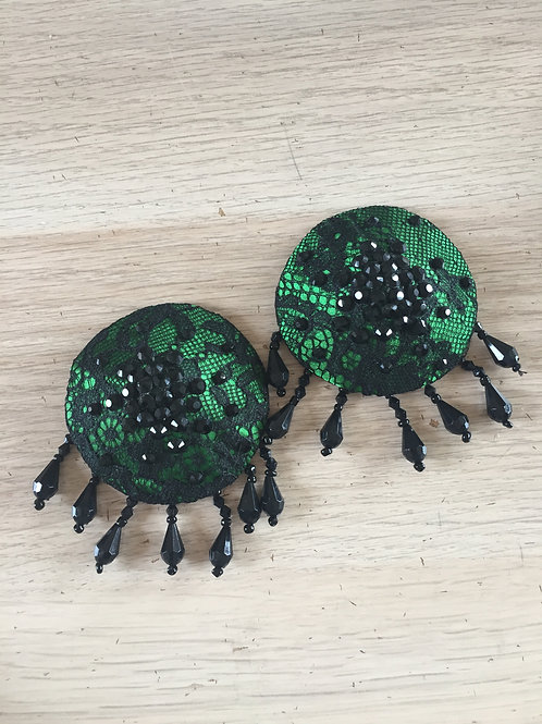 IN STOCK: green & black lace pasties