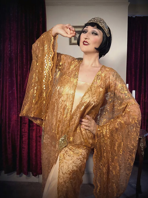 IN STOCK: Gold lace 1920s style kimono