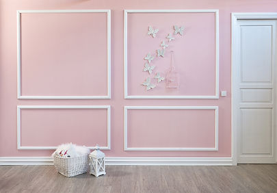 Classic pink frame wall and empty interi