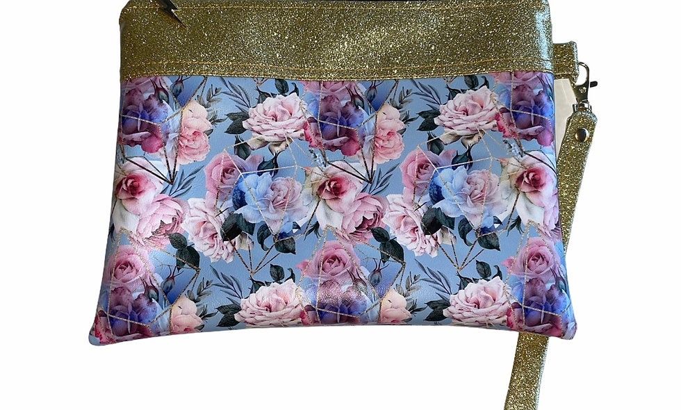 Floral and gold glitter clutch